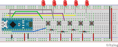 Five LEDs with one input bb